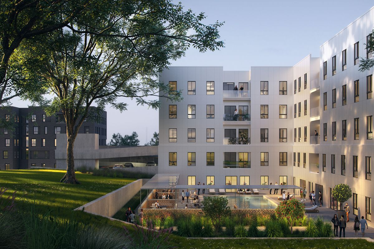 Rendering of a modernist coliving building, including an austere white facade.