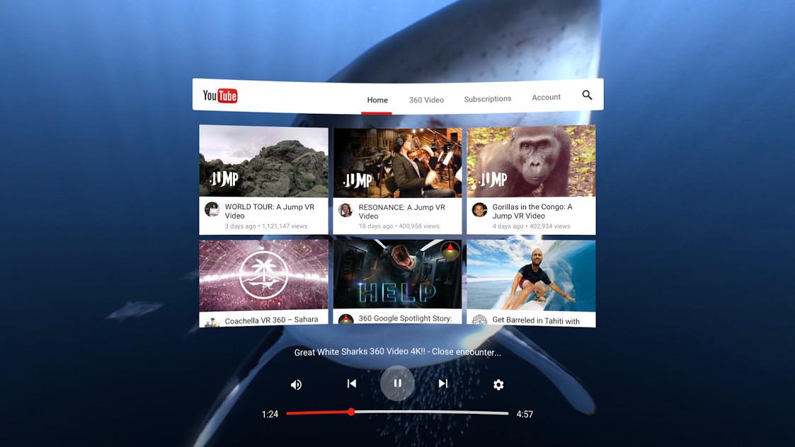 Youtube VR Google Daydream