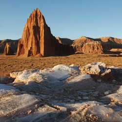 The Temple of the Sun (at middle of photo) and The Temple of the Moon (at back, left side of photo) are in the Cathedral Valley of Capitol Reef National Park, Sept. 17, 2003. There has been debate on whether recreation areas and national parks in Utah should be opened and run by the state during the federal government shutdown.