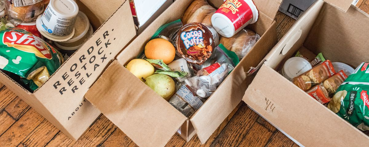 Boxes of non-perishable food to be given out to restaurant workers during COVID-19 crisis, March 2020