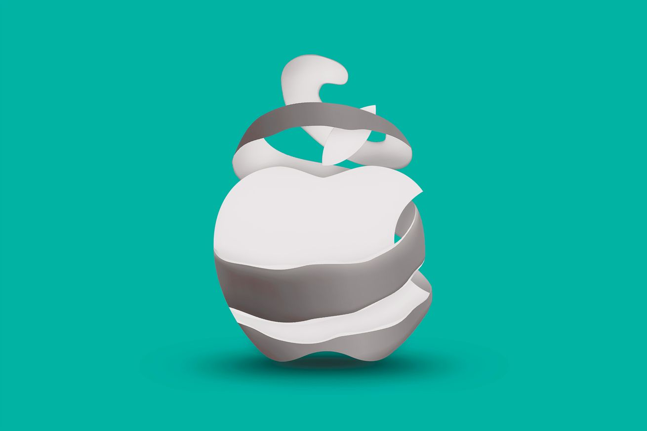 An illustration of the Apple logo in the middle of being unpeeled over a teal background.