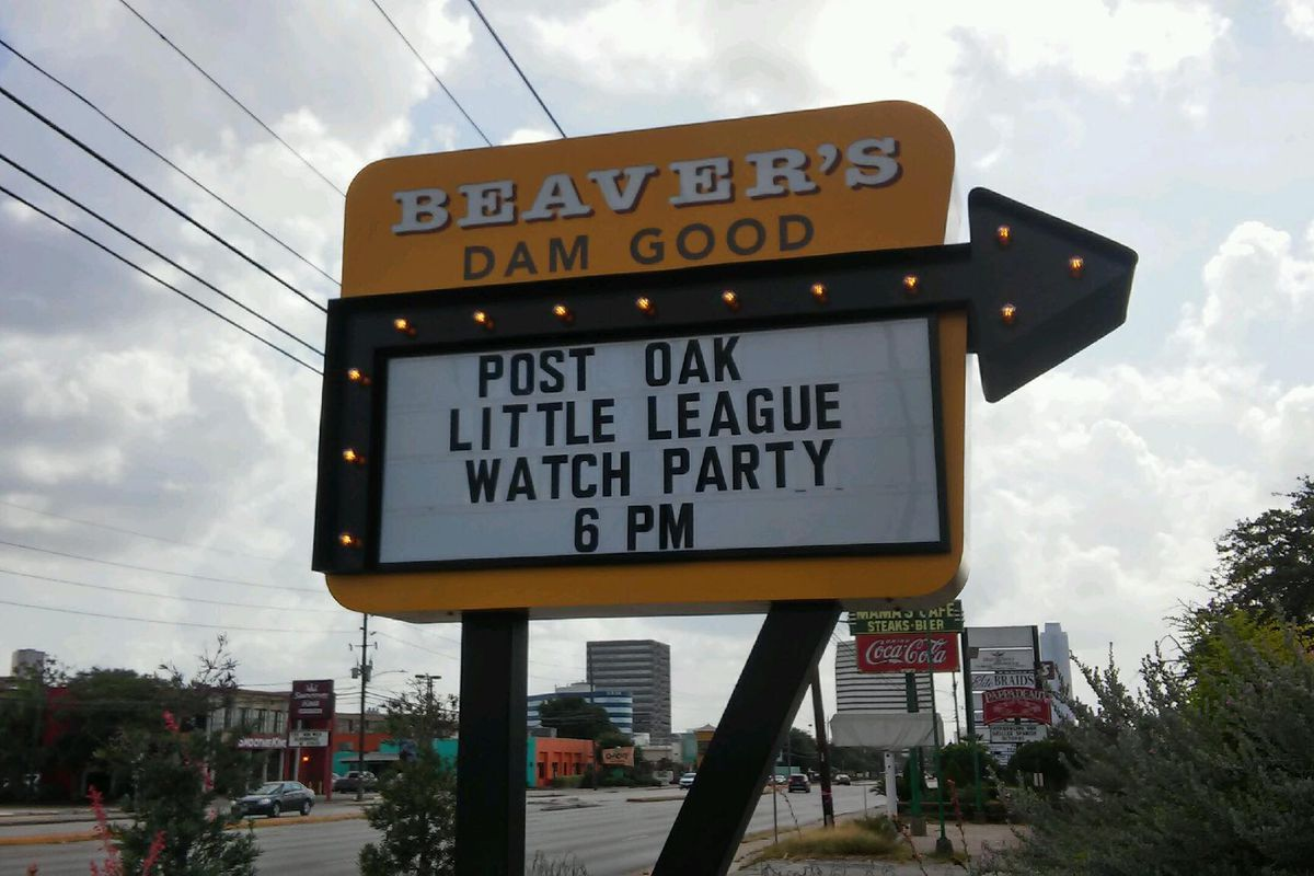 a yellow billboard for Beaver's