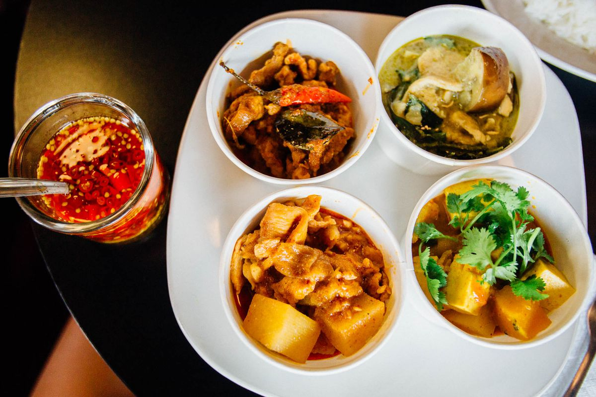 A selection of small curry dishes at Thai Curry Simple.