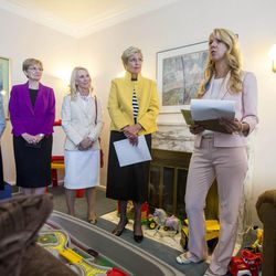 Susanne Mitchell, program manager of the Children's Justice Center, welcomes LDS auxiliary leaders to a tour of the Avenues Children's Justice Center Tuesday, April 28, 2015, in Salt Lake City.