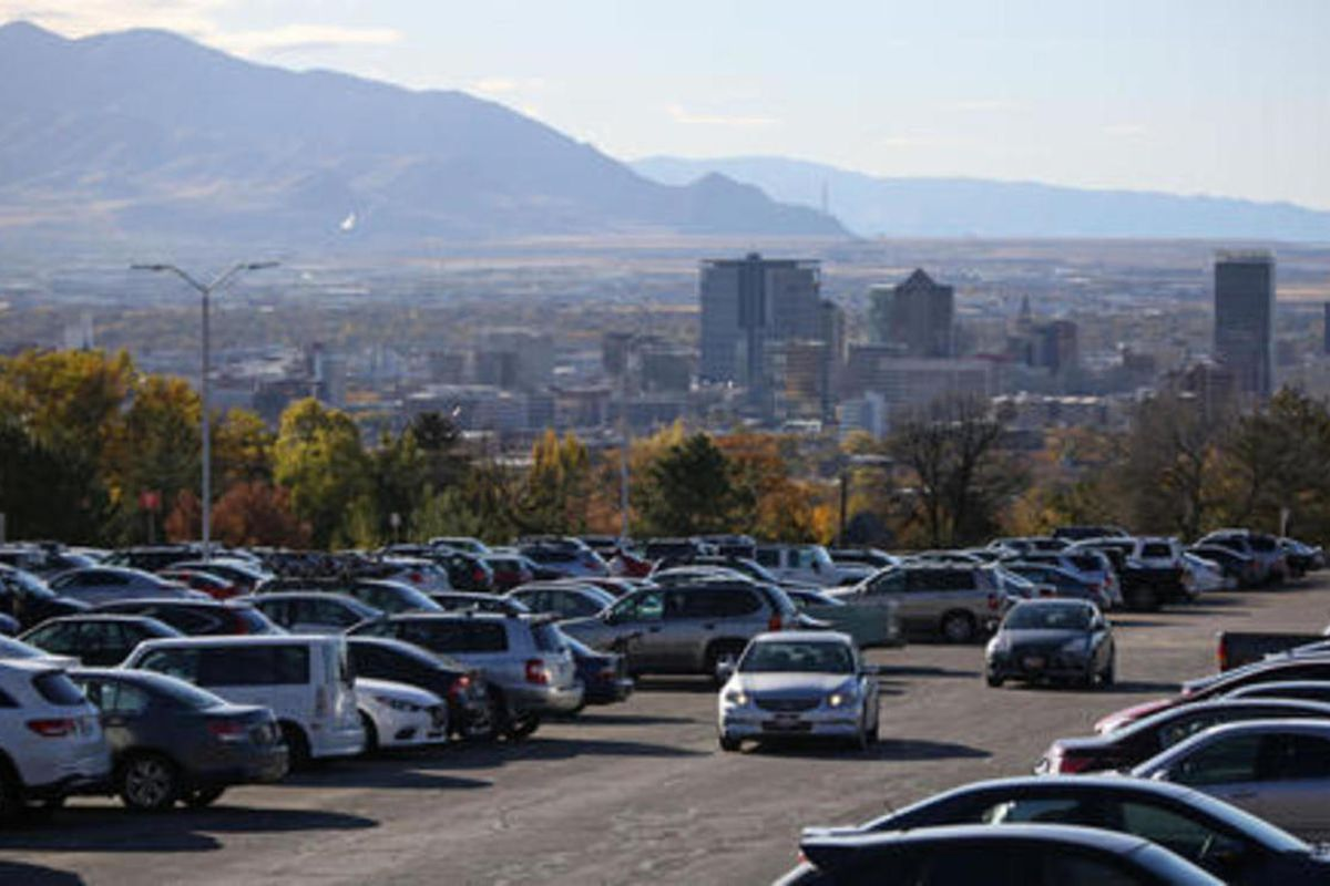 """FILE """""""" The parking lot of the Merrill Engineering Building on the University of Utah campus in Salt Lake City is seen on Monday, Oct. 31, 2016. A pair of University of Utah graduates dissatisfied with how the school handled a 2016 report of rape on campu"""