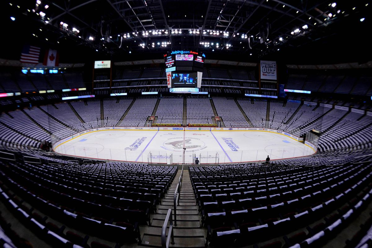 A normal sized crowd for a Coyotes game.