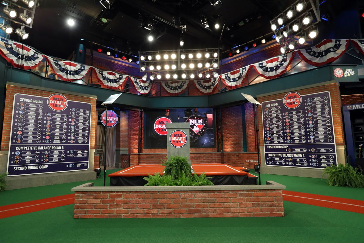 A general view of the completed first and second round draft boards during the 2019 Major League Baseball Draft at Studio 42 at the MLB Network on Monday, June 3, 2019 in Secaucus, New Jersey.