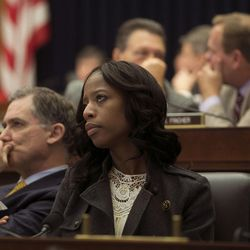 Rep. French Hill, R-Ark., and Rep. Mia Love, R-Utah, attend a Financial Services Committee meeting at the U.S. Capitol in Washington, D.C., on Tuesday, Dec. 8, 2015.