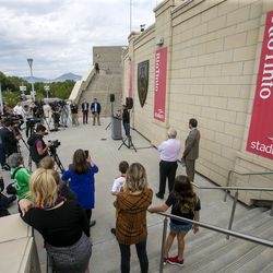 Real Salt Lake's goalkeeper Nick Rimando talks to media and guests after having a street named after him at Rio Tinto Stadium in Sandy on Friday, Sept. 27, 2019. Rimando will play his last home game on Sunday.