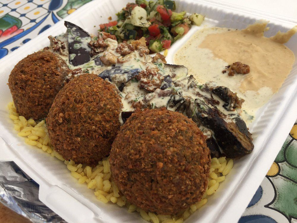 The falafel and gardenia plate from Abo Youssef