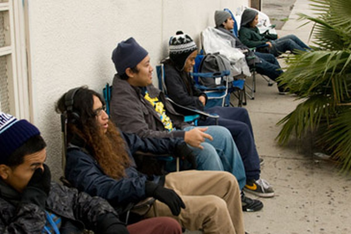 """Oh, snap! The line started at 7am THIS MORNING for The Hundreds sale, which doesn't start until tomorrow. Image via <a href=""""http://www.thehundreds.com/wordpress/?p=13433"""">The Hundreds</a>"""