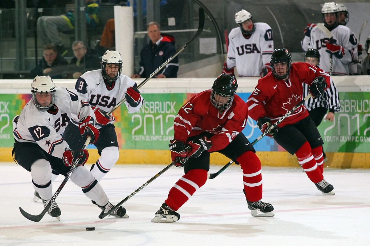 Jack Eichel, far left, is one of the most dynamic American-born offensive players in years.