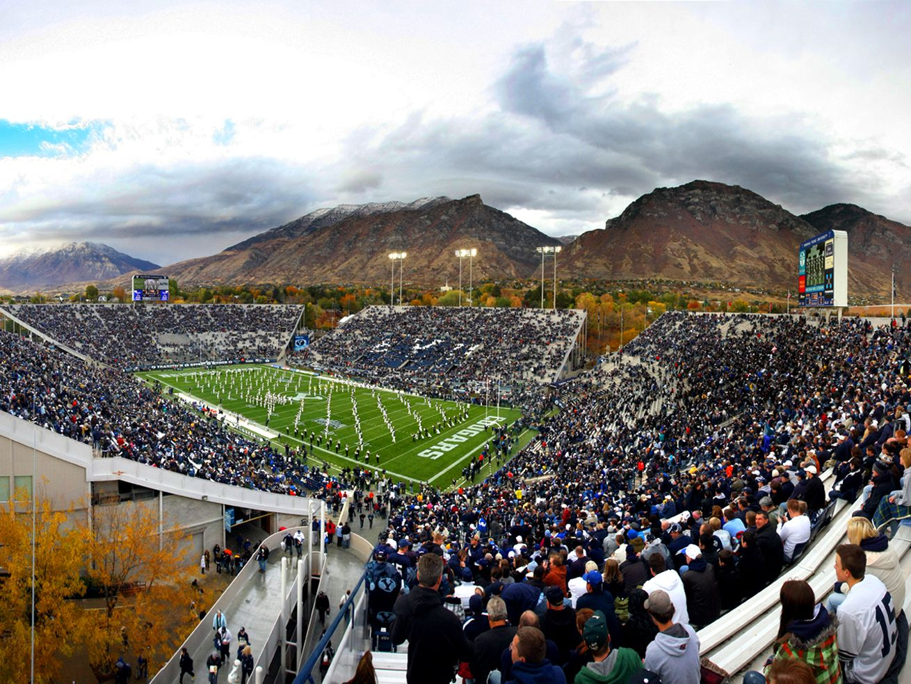 A wide view of LaVell Edwards Stadium. BYU and TCU play at LaVell Edwards Stadium in Provo Utah. Saturday, Oct. 24, 2009. Photo by Scott G Winterton Deseret News.