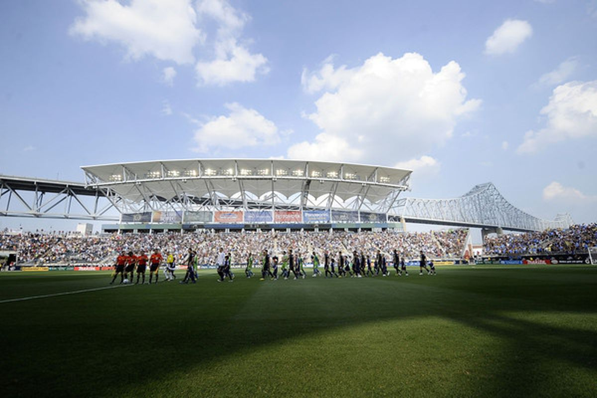 CHESTER, PA - JUNE 27:  The Philadelphia Union take the field for a match against the Seattle Sounders FC at the PPL Park stadium opener on June 27, 2010 in Chester, Pennsylvania.  (Photo by Jeff Zelevansky/Getty Images)