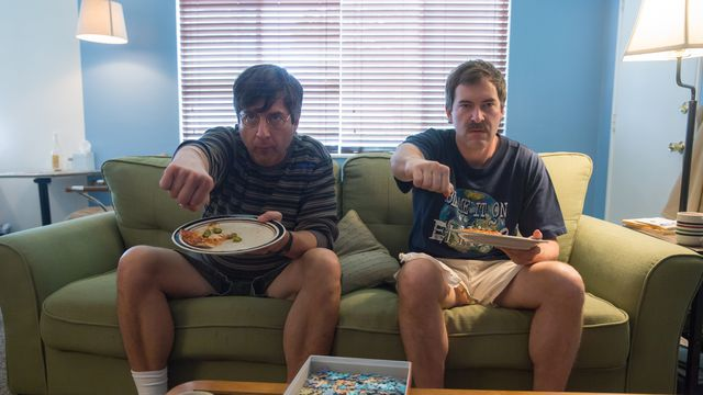 Ray Romano and Mark Duplass making believe in <em>Paddleton</em>.