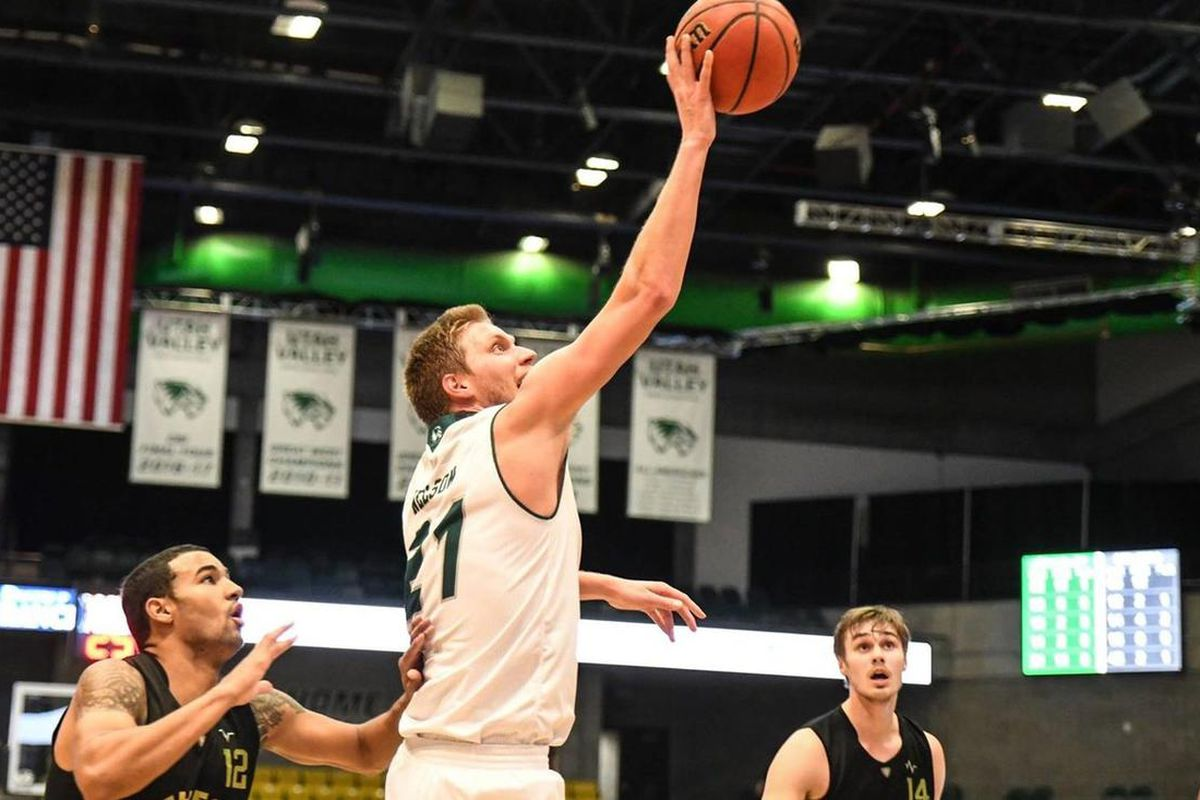 Zach Nelson hits a shot in UVU's win over Bethesda.