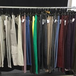 Colored and waxed denim, $49