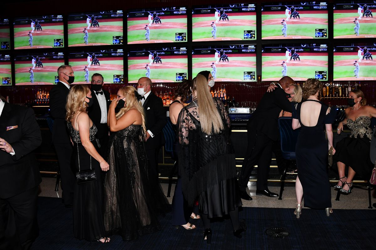 Guests mingle in the Circa Sportsbook last month in Las Vegas, Nevada.