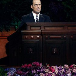 Elder Shayne M. Bowen speaks during the morning session of the182nd Semiannual General Conference for The Church of Jesus Christ of Latter-day Saints in the Conference Center in Salt Lake City on Saturday, Oct. 6, 2012.