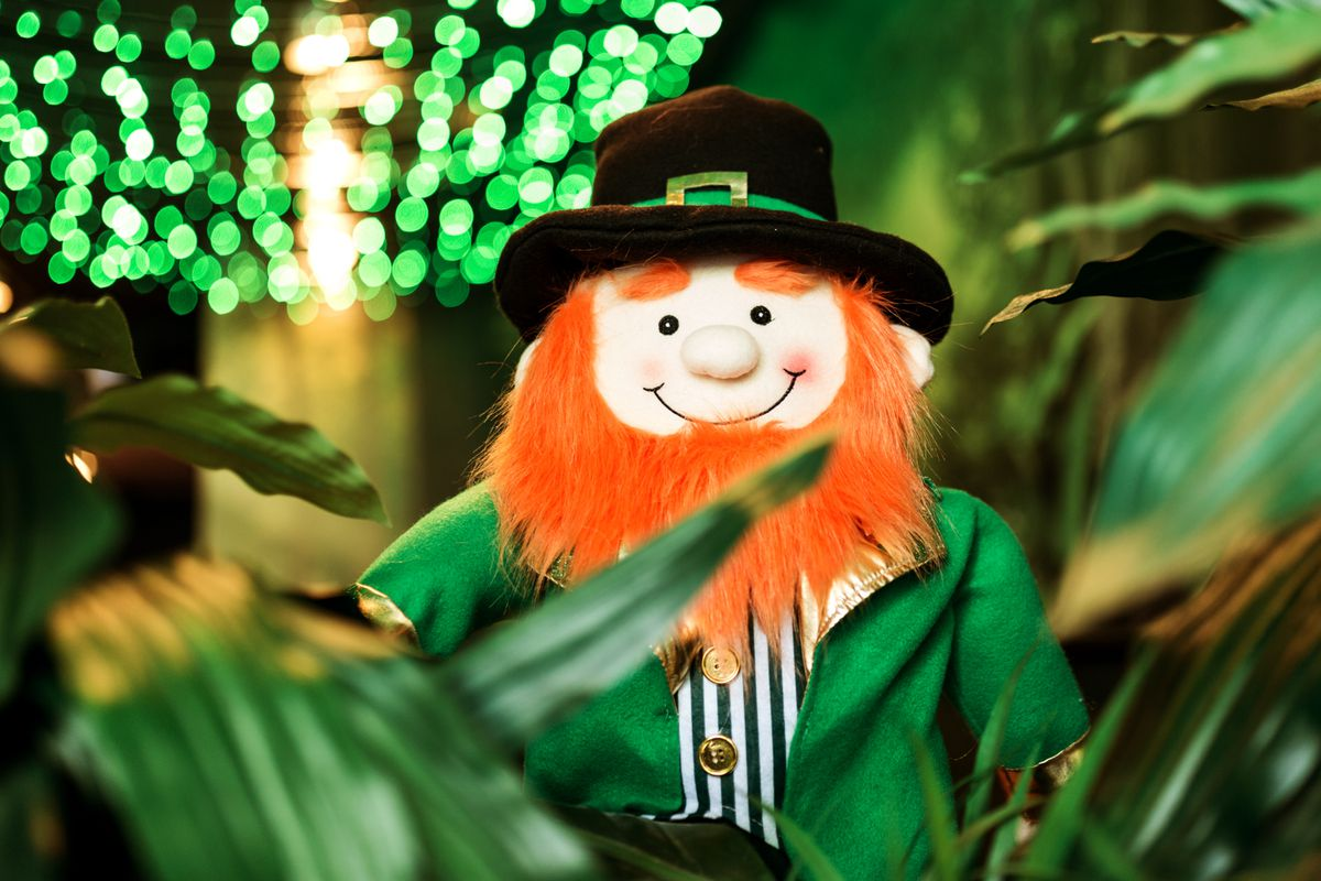 stuffed leprechaun next to plants with green string lights in the background