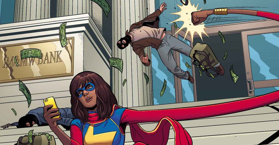 Ms. Marvel stretches her arm to cartoonish lengths in order to punch a bank robber while she checks her phone. From the cover of Ms. Marvel #6, Marvel Comics (2014).