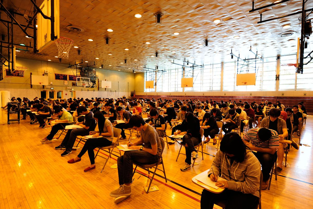 Students take an AP exam at Bronx Science, one of New York City's specialized high schools.
