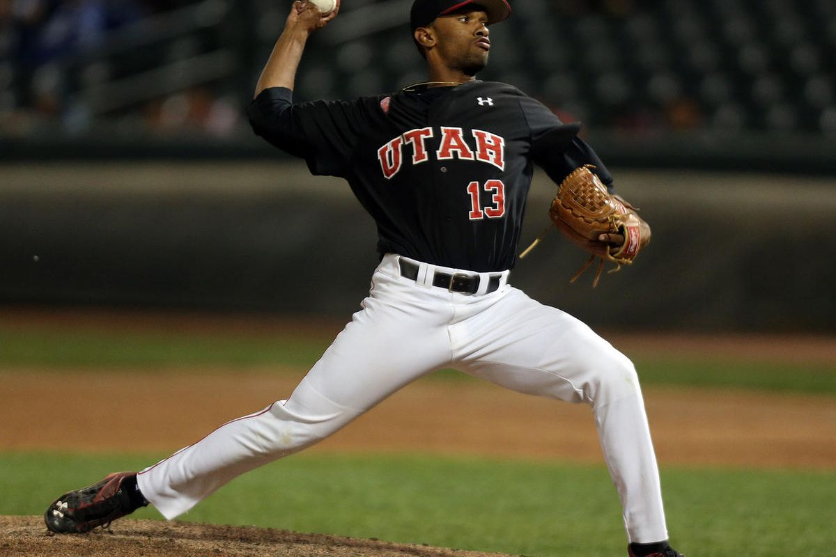 Utah Utes pitcher Andre Jackson (13) pitches in the ninth inning during an NCAA baseball game against the Brigham Young Cougars at Smith's Ballpark in Salt Lake City, Tuesday, May 17, 2016.