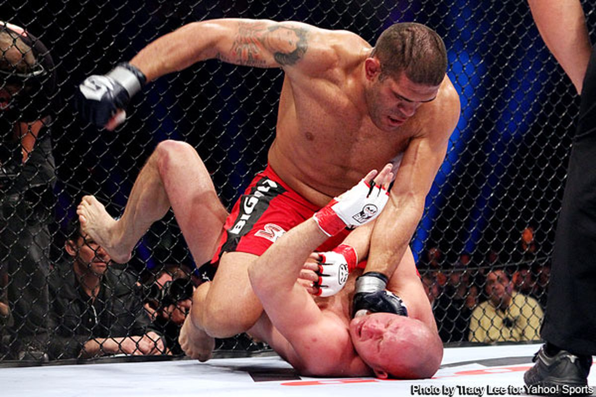 Antonio Silva grounds and pounds Fedor Emelianenko to advance in the Strikeforce Heavyweight Grand Prix. (Photo by Tracy Lee for Yahoo! Sports)