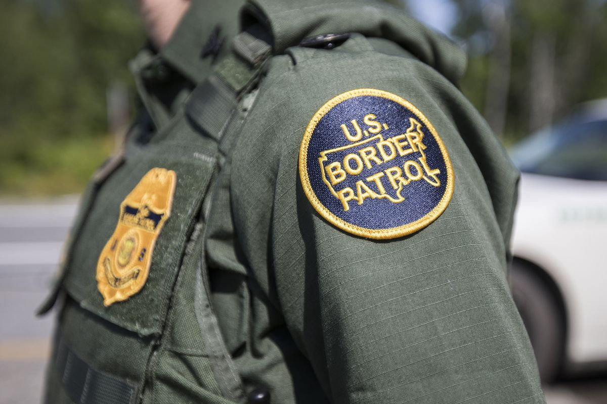 A patch on the uniform of a U.S. Border Patrol agent at a highway checkpoint on August 1, 2018 in West Enfield, Maine. The checkpoint took place approximately 80 miles from the US/Canada borde