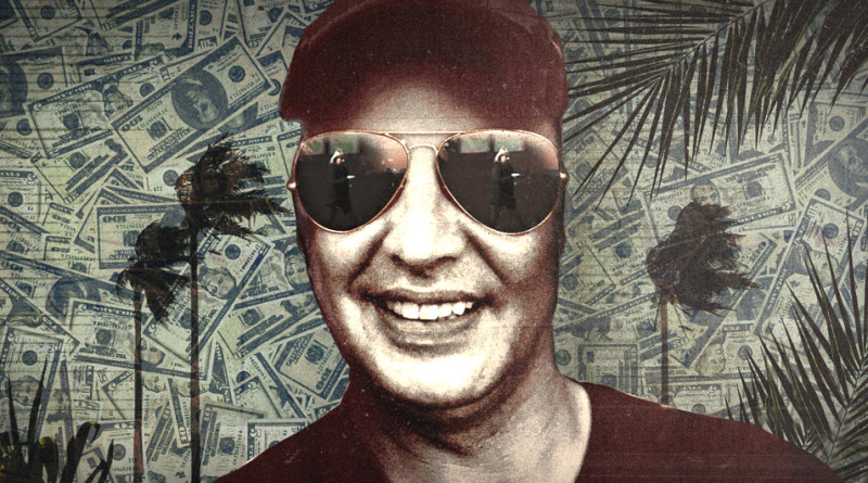 A man wearing sunglasses against a stylized backdrop of palm trees and dollar bills.