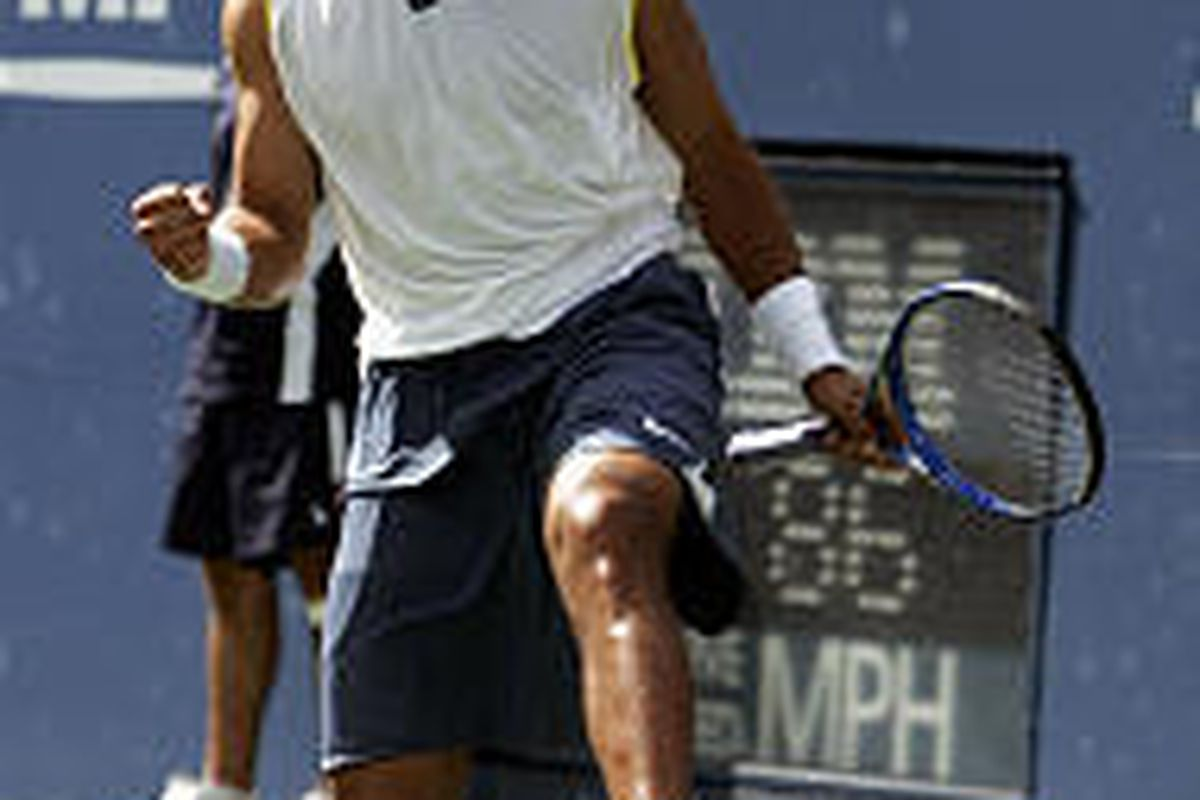 James Blake reacts during his win over second-seeded Rafael Nadal at the U.S. Open.