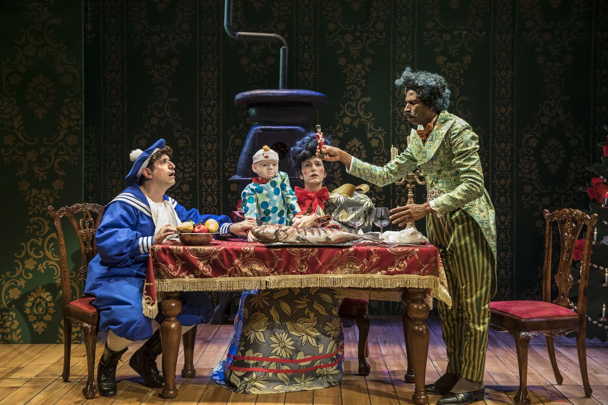 """John Gregorio (from left), Kasey Foster and Anthony Irons in """"The Steadfast Tin Soldier"""" at Lookingglass Theatre. 
