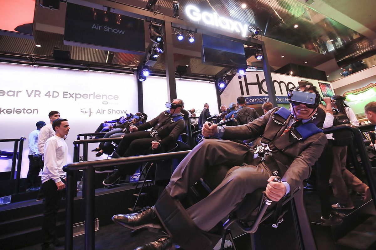 Someone testing a virtual reality device at CES 2017.