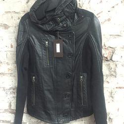 Overstock leather jacket, $425 (originally $878)