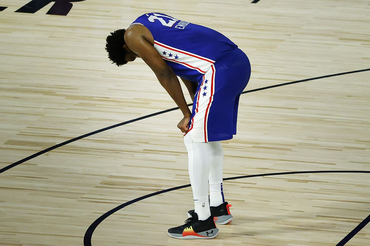 Joel Embiid of the Philadelphia 76ers reacts during the fourth quarter against the Orlando Magic at HP Field House.