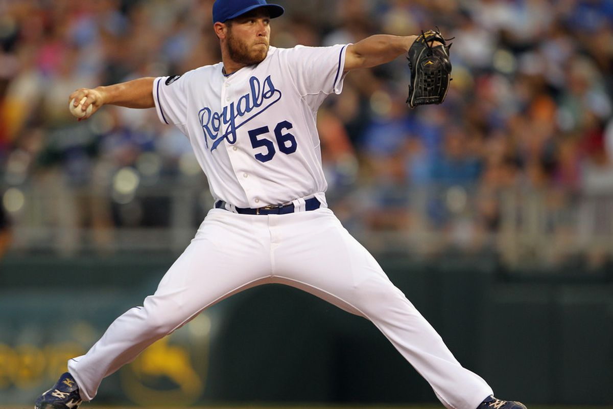 KANSAS CITY, MO - JULY 09:  Pitcher Greg Holland #56 of the Kansas City Royals in action during the game against the Detroit Tigers on July 9, 2011 at Kauffman Stadium in Kansas City, Missouri.  (Photo by Jamie Squire/Getty Images)