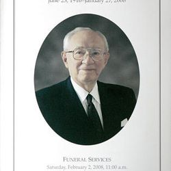 The funeral program of President Gordon B. Hinckley. Services were held for the LDS prophet on Saturday in the Conference Center. He died on Jan. 27.