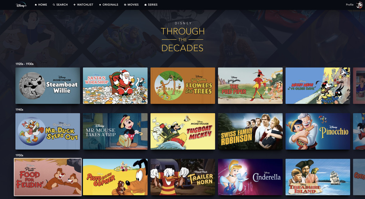 A collection of all the films on Disney Plus broken up be decade