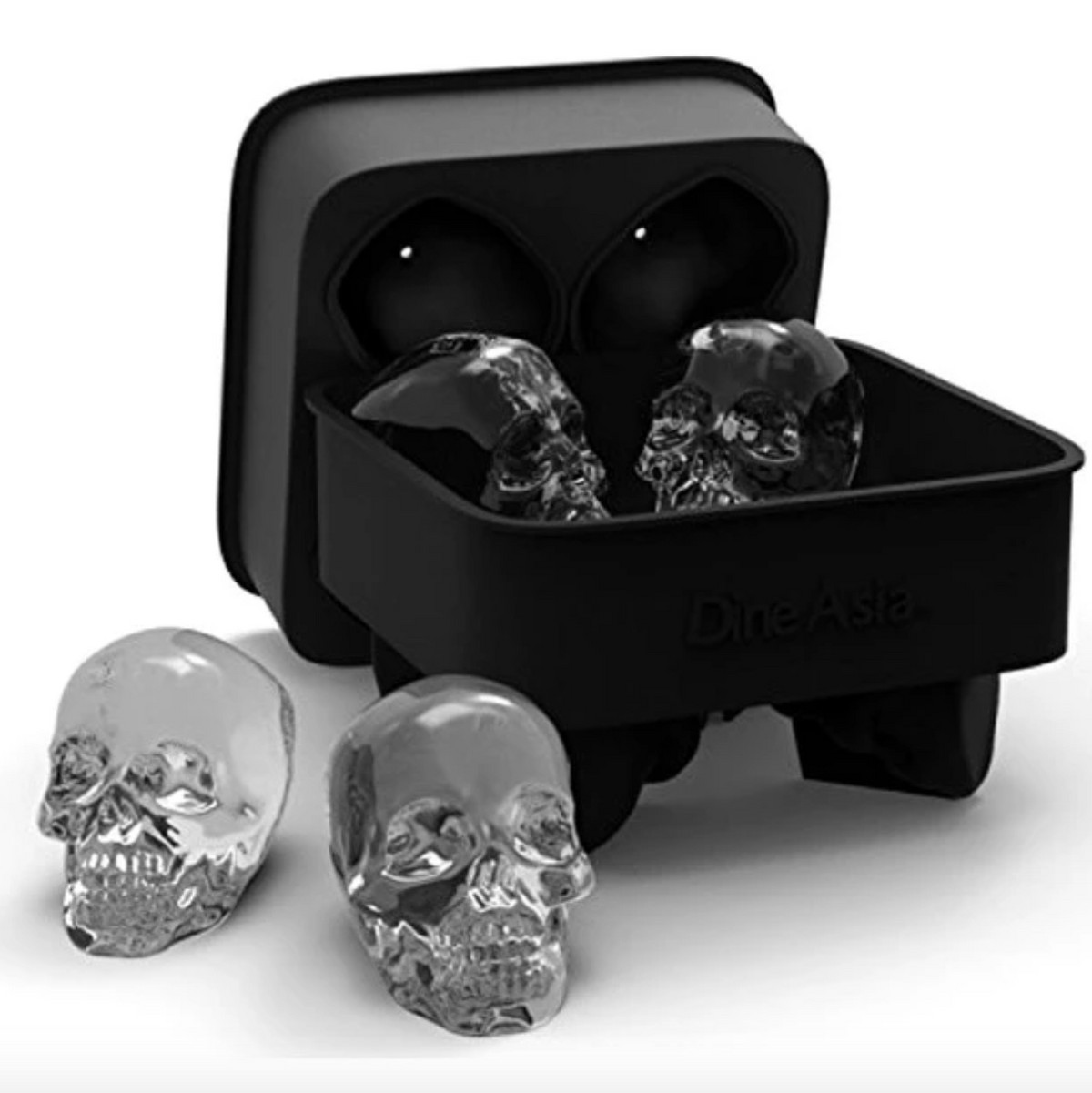 Ice cube tray with skull-shaped ice