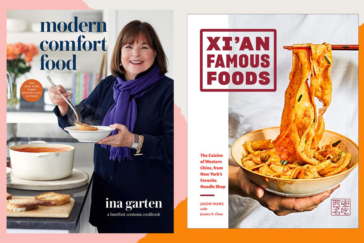 Cover of Ina Garten's new cookbook, Modern Comfort Food, on left; on right, cover of new Xian Famous Foods cookbook, with noodles
