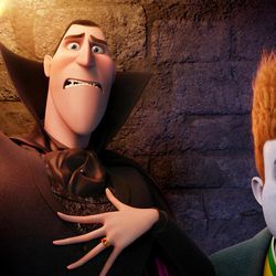 """This film image released by Sony pictures shows Dracula, voiced by Adam Sandler, left, and Johnnystein, voiced by Andy Samberg in a scene from """"Hotel Transylvania."""""""