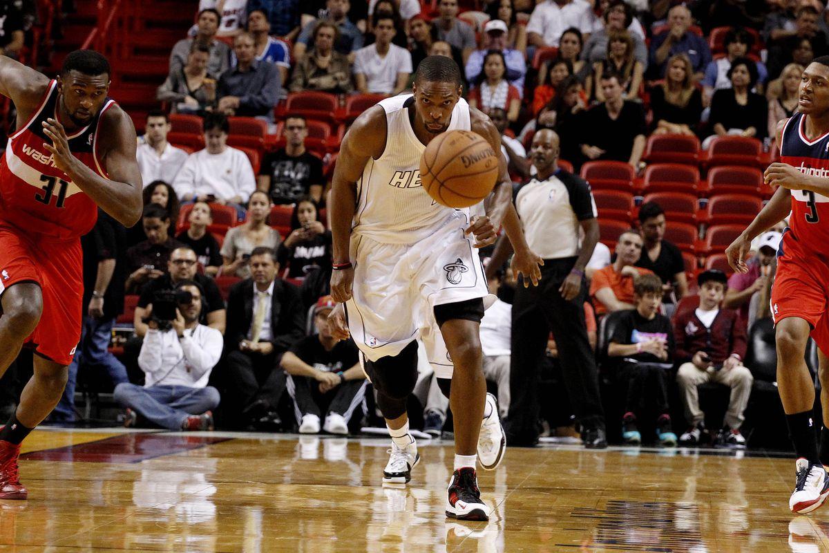 Chris Bosh tracks down a loose ball.
