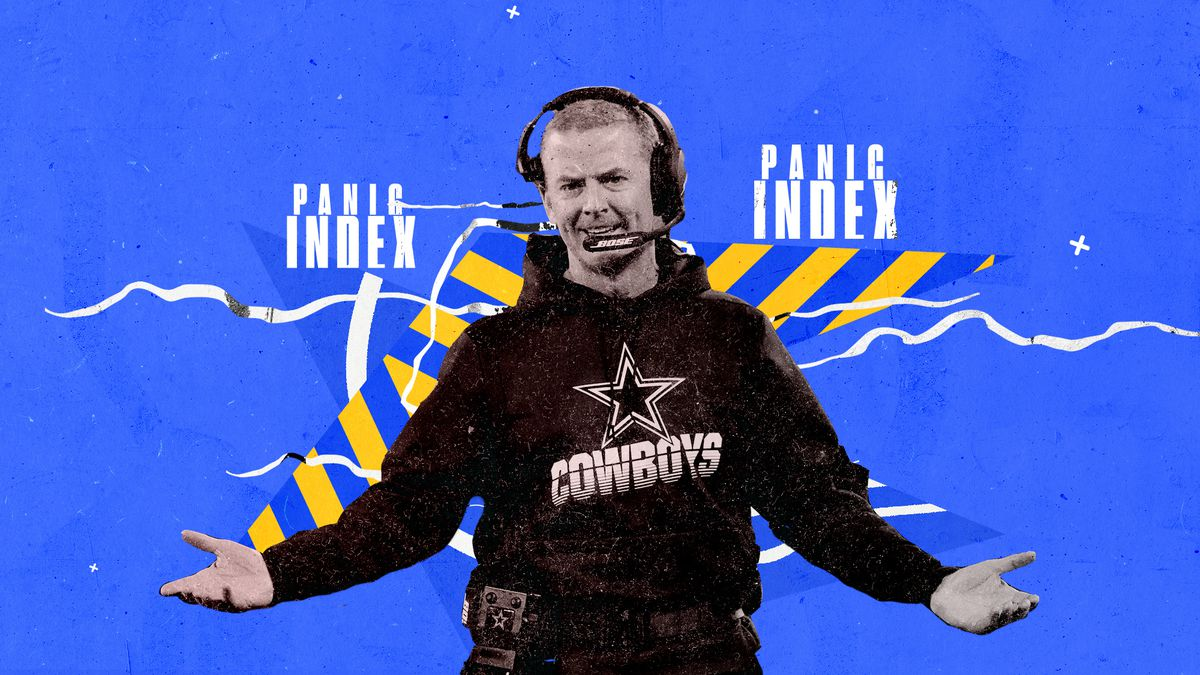 "Cowboys coach Jason Garrett holds his arms out in disbelief, superimposed on a blue and yellow background and the words ""PANIC INDEX"" in white"