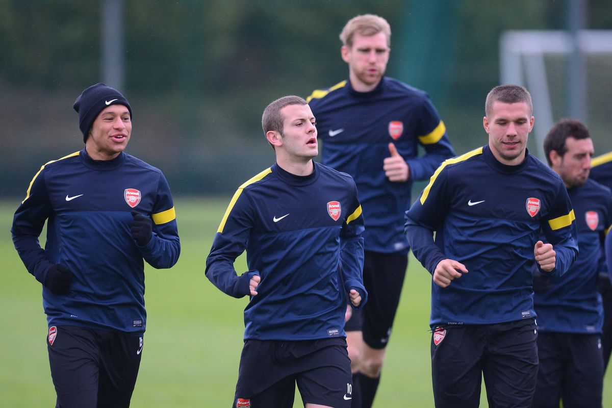 Some of the Arsenal players who will be donning national garb today.
