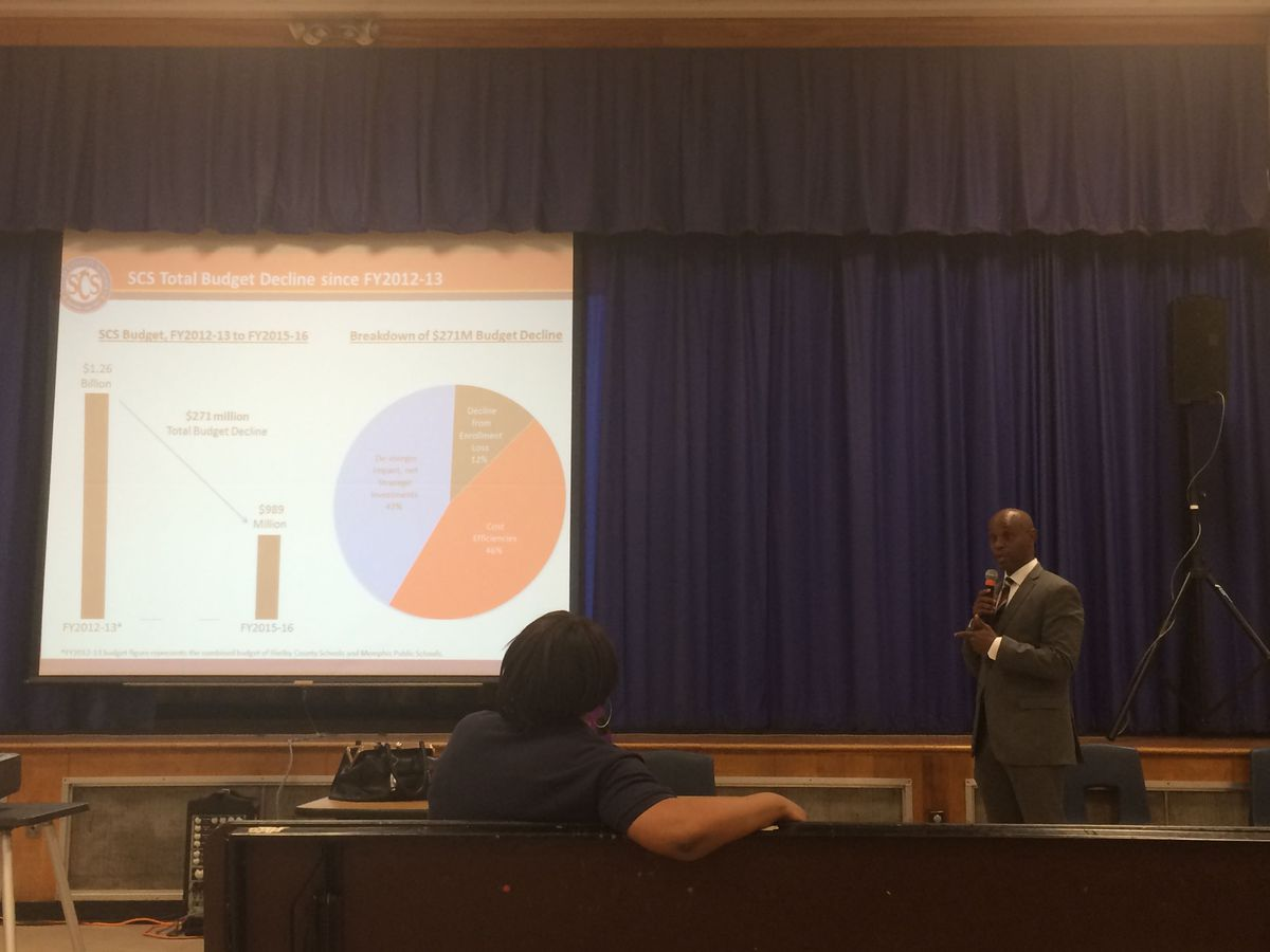 Superintendent Dorsey Hopson presents a budget update to a small audience Monday.