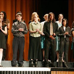 Finalists in the foreign language category take the stage at Cottonwood High School during the Sterling Scholar awards ceremony on Wednesday night.