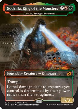 Godzilla, King of Monsters is a 7/3 Legendary Creature, a dinosaur with Trample. He costs 5 mana total, including a single red and green.