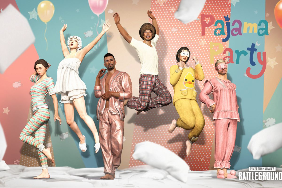 Several PUBG players posing in Pajamas from the update 11.2 battle pass