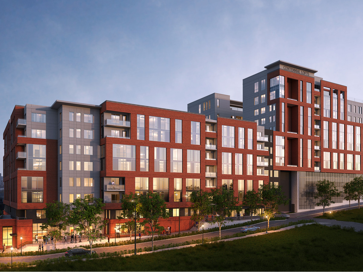 A rendering of a student housing complex with many windows and red accents in Atlanta.