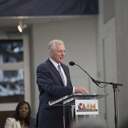 Elder D. Todd Christofferson, a member of the LDS Church's Quorum of the Twelve Apostles, announces the Freedman's Bureau Project at the California African American Museum in Los Angeles on Friday, June 19, 2015. The project's goal is to enlist volunteers to digitize the Freedmen's Bureau records of 4 million freed slaves in the next six to nine months at discoverfreedmen.org, so they can be available free online to the public.